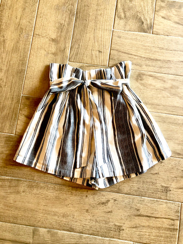 CONFESSIONS Stripe High Tie Waist Shorts