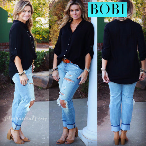 BOBI Beach Crepe DESERVE ButtonUp TwistBottom HiLo Top