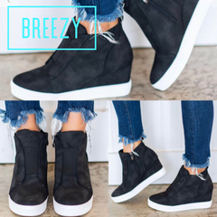 BREEZY Perforated Hidden Wedge Sneaker Shoe