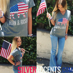 AMERICAN BUFFALO Grey TriBlend V-Neck Tee Top