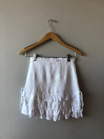 CHANCES Smock Tie Detail Skirt White