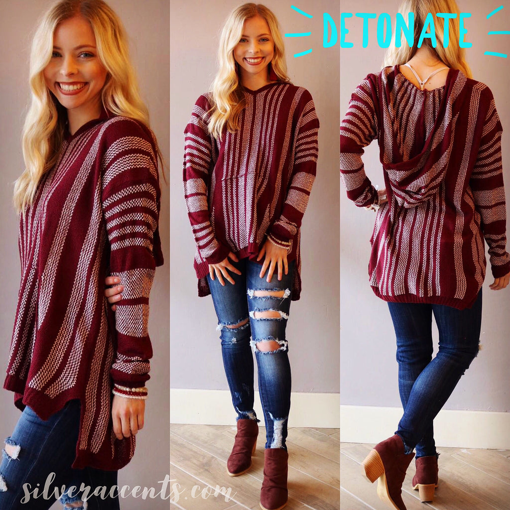 DETONATE Serape Stripe Hoodie Tunic Sweater Top