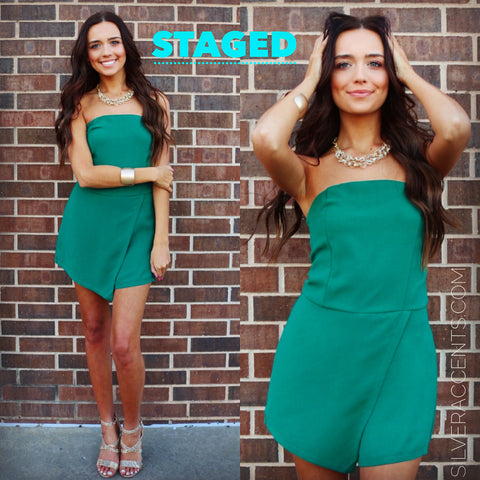 STAGED Strapless Envelope Skort Romper