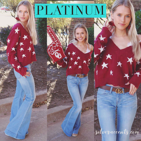 PLATINUM StarPrint Distressed V-Neck Sweater Top