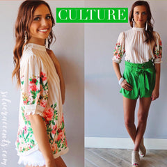 CULTURE Stripe Floral HiNeck Smock ShortSleeve Top