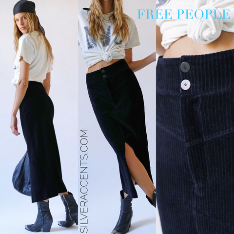 FREE PEOPLE ROXY RIB Velvet Pencil Skirt