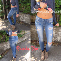 FLYING MONKEY Distressed BRANDO BLUE RawHem Skinny Jean