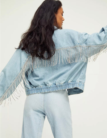 FREE PEOPLE Rhinestone Fringe COMET Denim Bomber Jacket