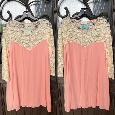 Peach Love California DREAMSICLE Lace Top/Sleeve Dress
