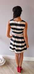 CENTRAL PARK Stripe Fit & Flare w/Red Belt Dress