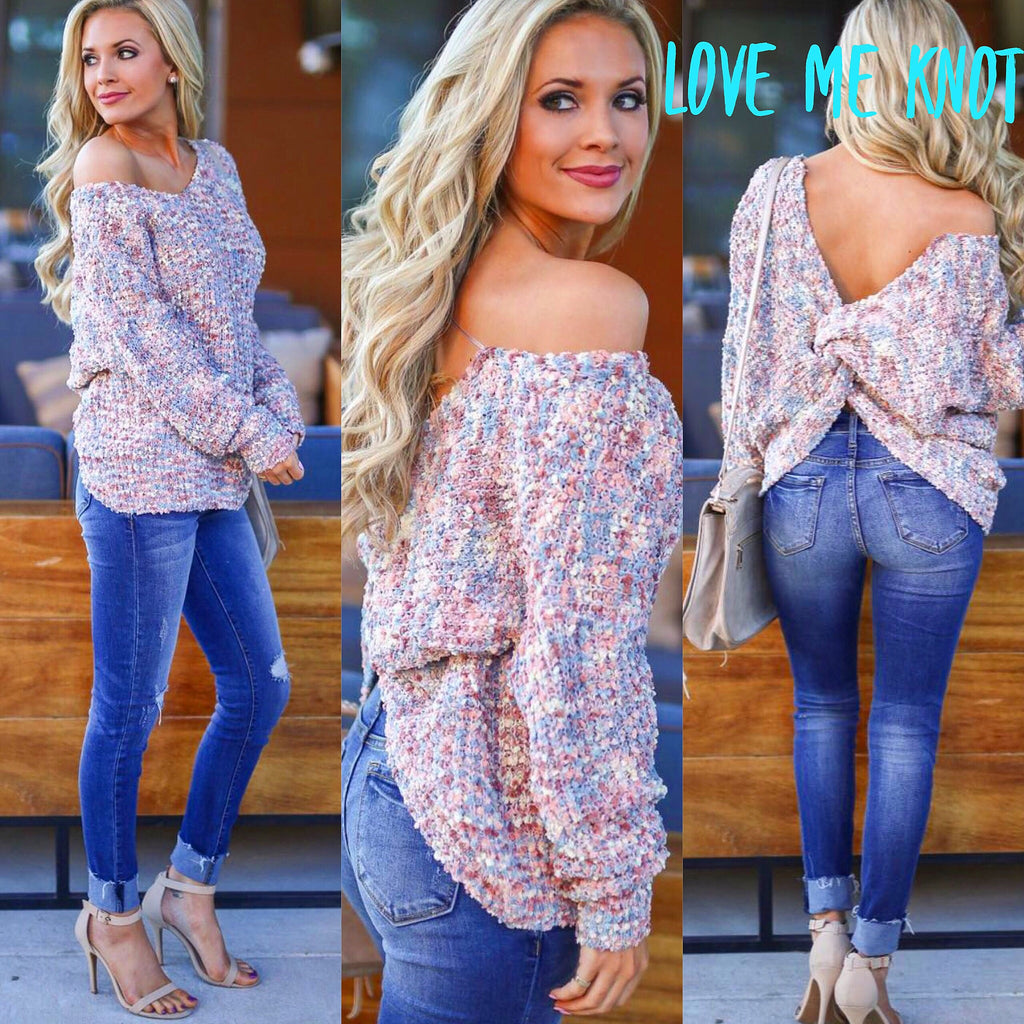 LOVE ME KNOT TwistBack DolmanSleeve Sweater Top