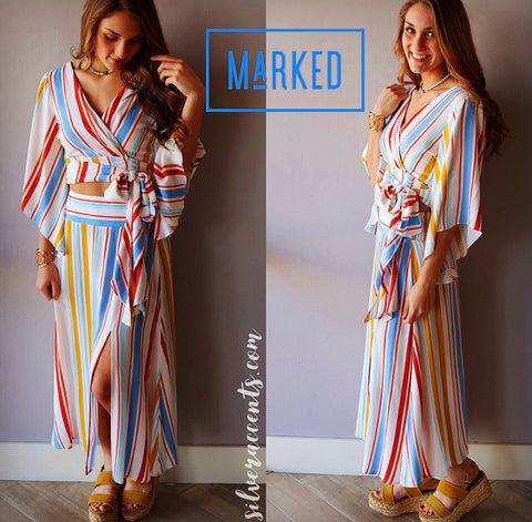 MARKED 2pc Stripe Wrap Top/Slit Skirt Set