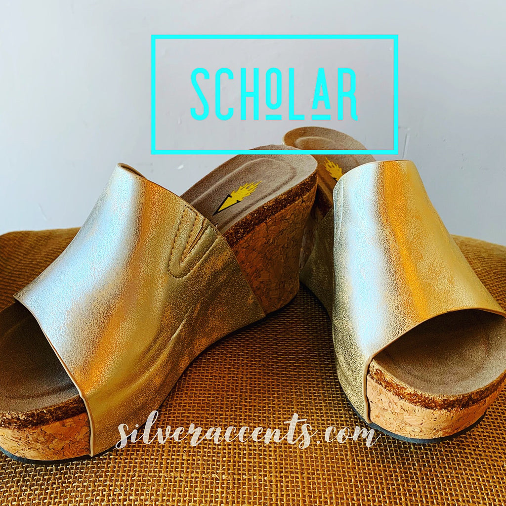 VERY VOLATILE Gold SCHOLAR Distressed Wedge Sandal Shoe