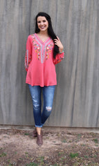 MYRTLE BEACH Embroidered Floral V-Neck 3/4sleeve Top