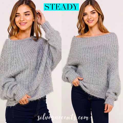 STEADY OffShoulder Cozy Knit Sweater Top