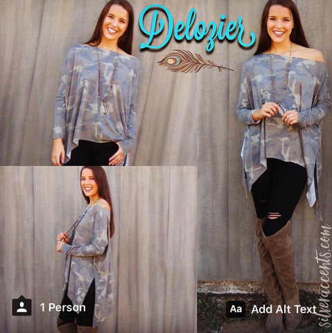 DELOZIER Super Soft Terry Asymmetric Tunic Top