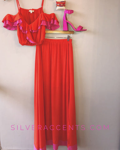 PROVOKED 2pc DualTone Ruffle ColdShoulder/Slit Maxi Skirt Set