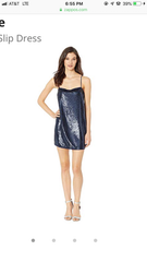 FREE PEOPLE Navy TIME TO SHINE Sequin Slip Dress