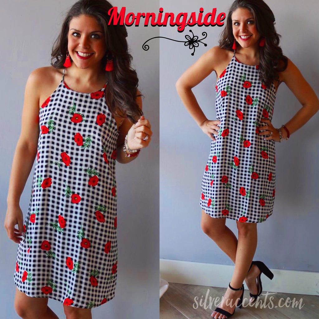 MORNINGSIDE Gingham/ Floral A-Line Chiffon Dress
