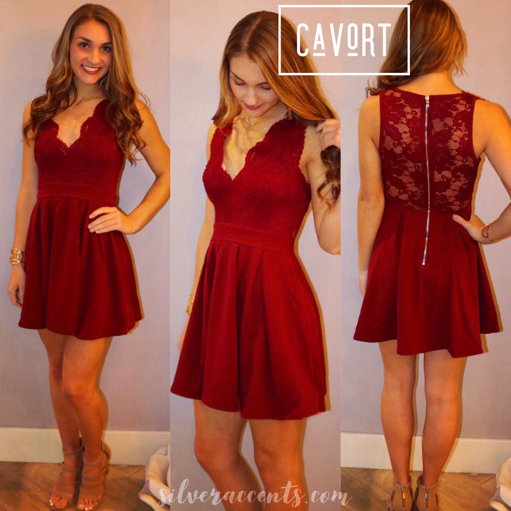 CAVORT Lace Bust Fit & Flare Dress