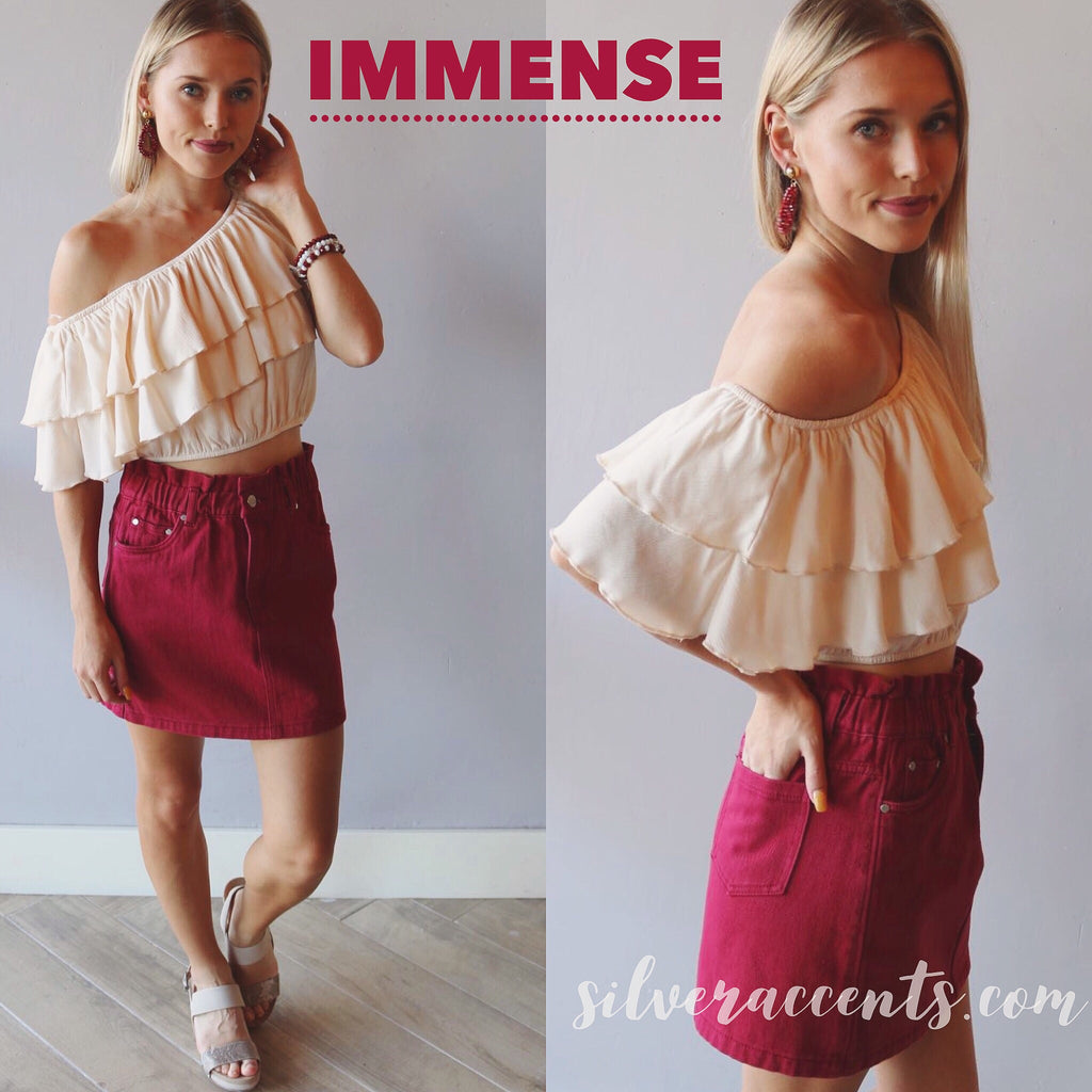 IMMENSE OneShoulder Layer Ruffle Woven Top