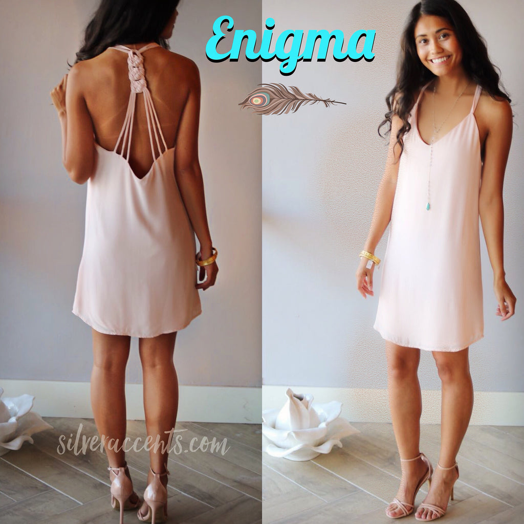 ENIGMA StrappyBack Chiffon Shift Dress