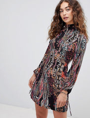 FREE PEOPLE Turtleneck ALL DOLLED UP Print Jersey Dress