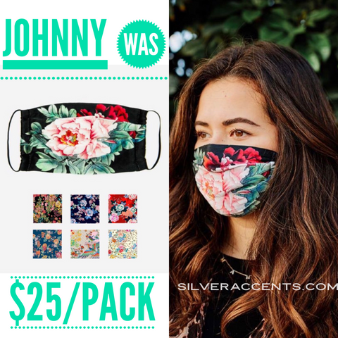 JOHNNY WAS 5 Pack Cotton Sateen Print Face Masks