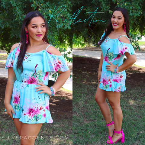 REFLECTION Floral ColdShoulder LaceUp RuffleHem Short Romper