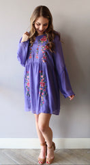 PALISADES Embroidered Floral RuffleSleeve ScoopNeck Dress