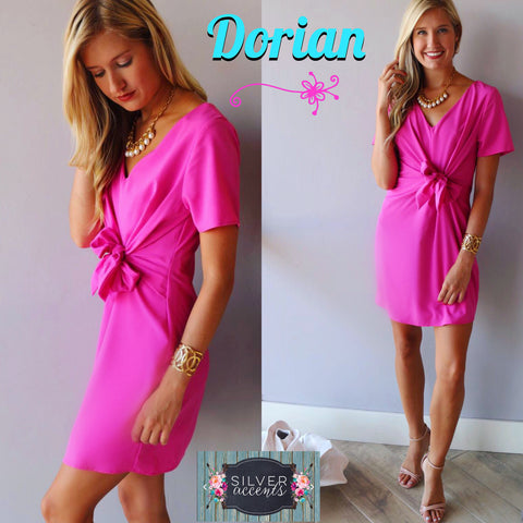 Pink DORIAN TieFront ShortSleeve V-Neck Shift Dress