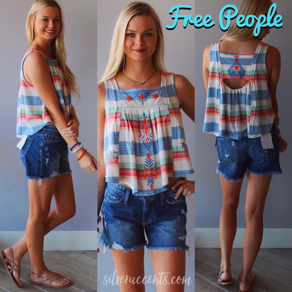 FREE PEOPLE Embroidered VINTAGE STRIPE Swing Tank Top