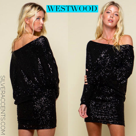 WESTWOOD Sequin OffShoulder DolmanSleeve Bodycon Dress
