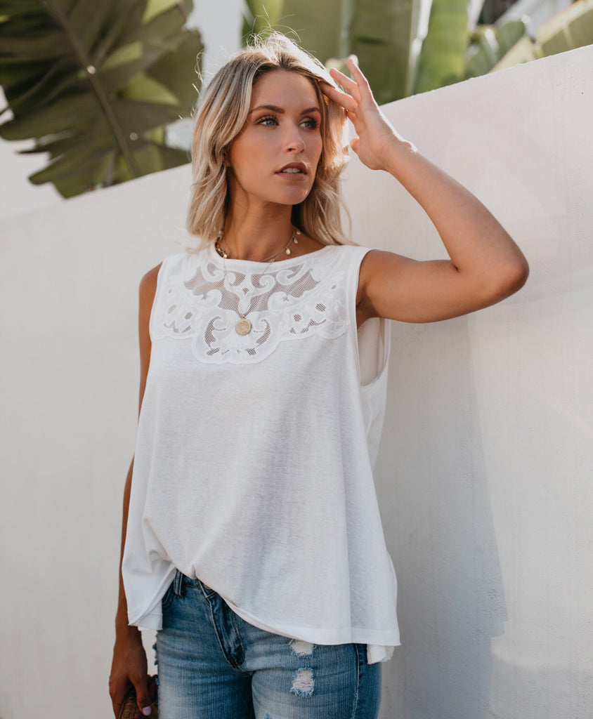 WITHOUT A TRACE Mesh Embroidered Top