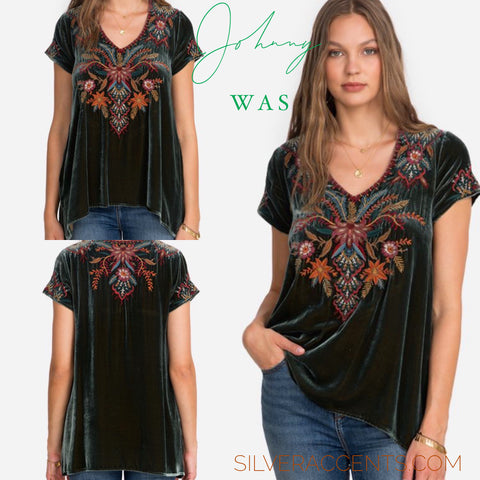 JOHNNY WAS JWLA Velvet AIVITA Embroidered Drape Top