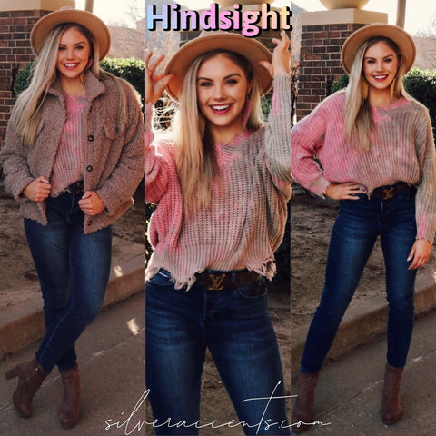 HINDSIGHT TieDye Distressed V-Neck Sweater Top