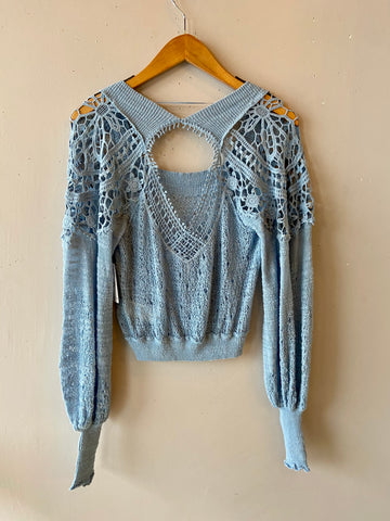 FREE PEOPLE Crochet Shoulder BEFORE YOU GO SquareNeck PullOver Top
