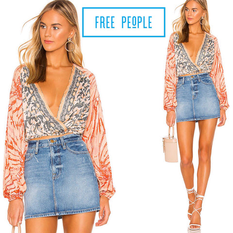 FREE PEOPLE Multi CRUISIN TOGETHER Print Surplice Neck Blouse Top