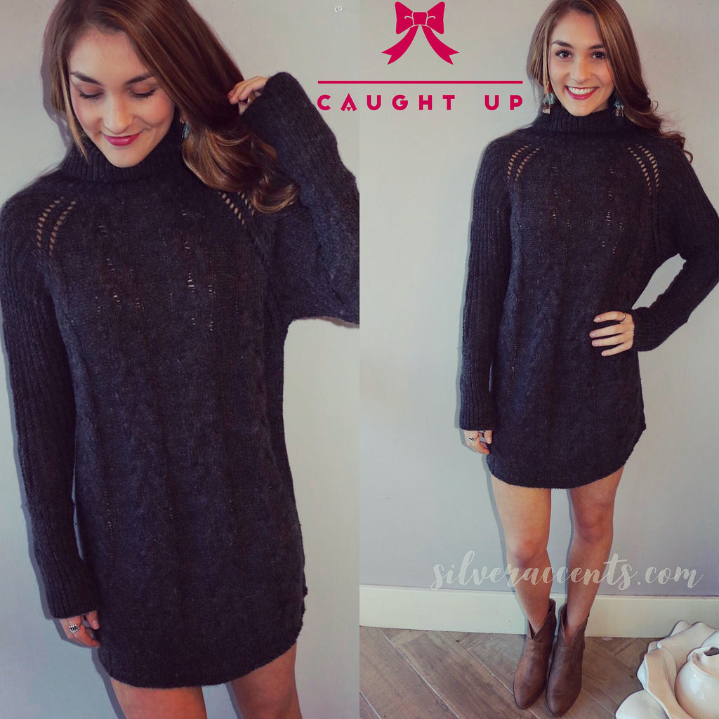 CAUGHT UP CableKnit TurtleNeck ScoopHem Sweater Tunic Dress