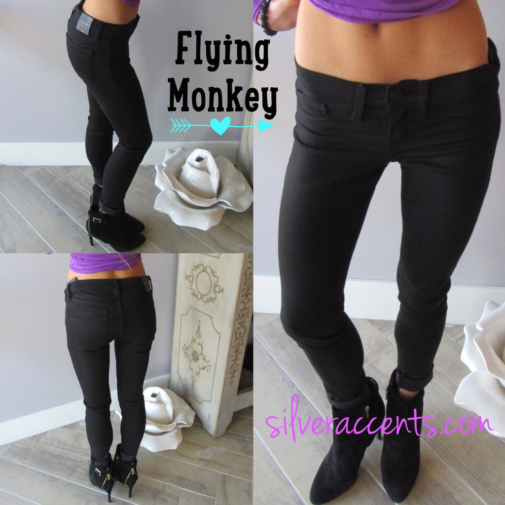 FLYING MONKEY Stretch BLACK Ankle Skinny Jean