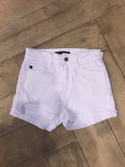 MARVEL Mid Rise Cuff Distressed White Jean Shorts