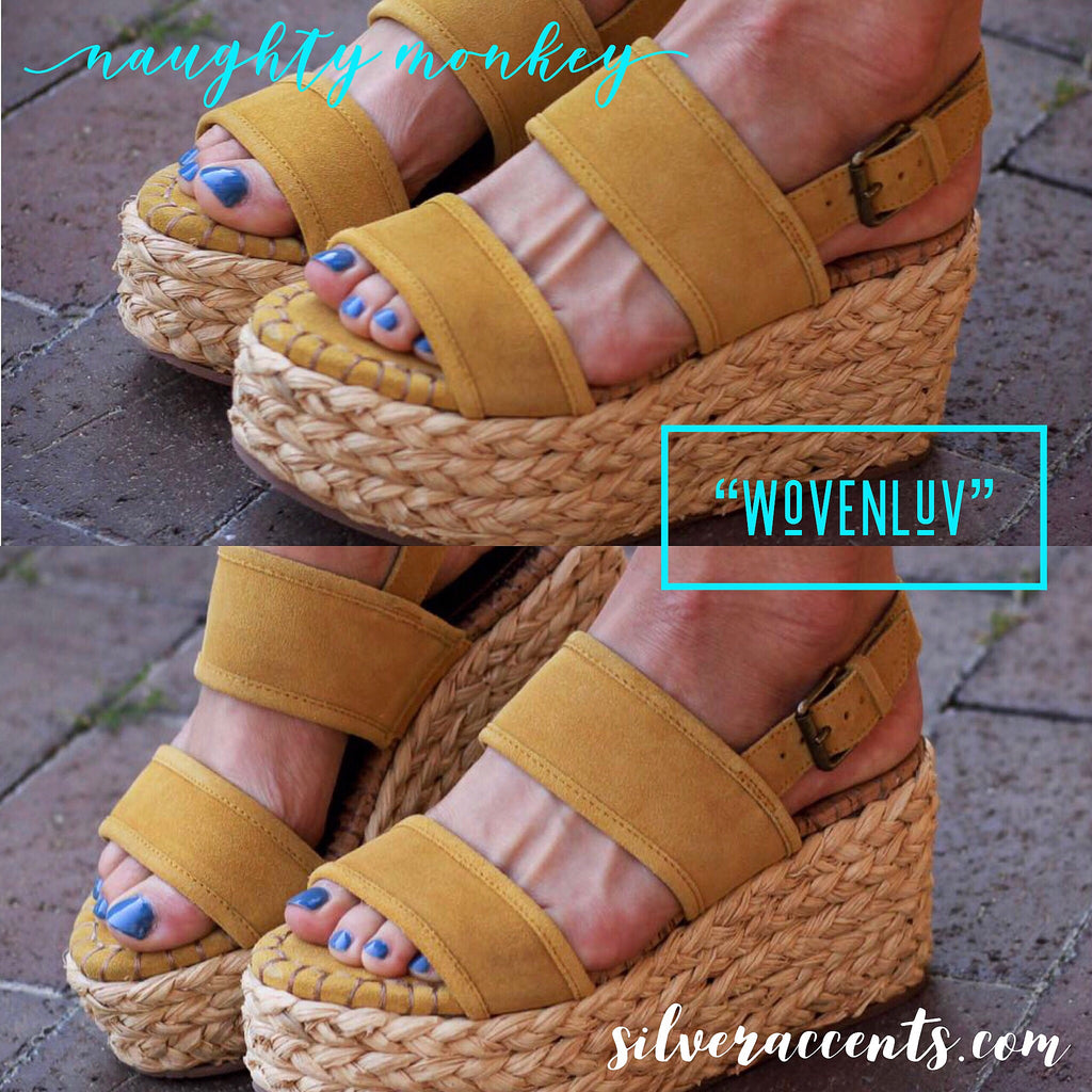NAUGHTY MONKEY Mustard WOVENLUV Dual Band Braided Wedge Sandal Shoe