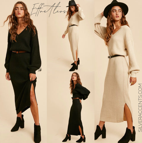 EFFORTLESS Slouchy V-Neck SideSlit BalloonSleeve Ankle Sweater Dress