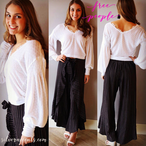 CHARIOT Stripe MidRise Tulip Ruffle Flare Pant