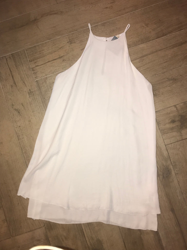 PELLA Hi Neck Layer Hem Off White Dress