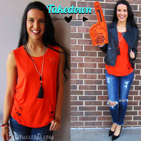 TAKEDOWN Modal Distressed Jersey Tank Top