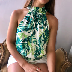 DESTINED Palm Print Smock Green Top