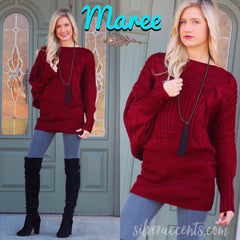MAREE CableKnit DolmanSleeve Sweater Tunic Top Dress