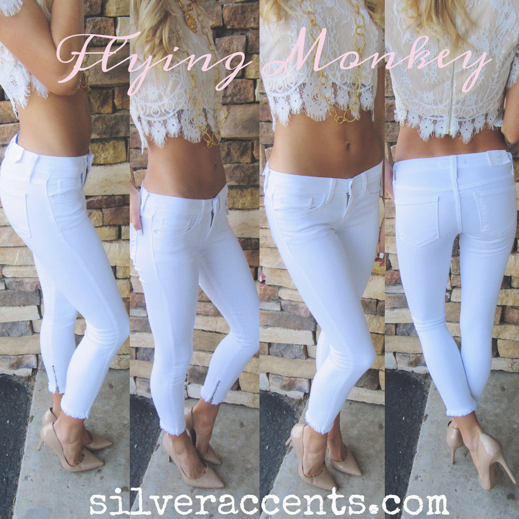 FLYING MONKEY Ankle Zip OPTIC WHITE Frayhem Ankle Crop Skinny Jean