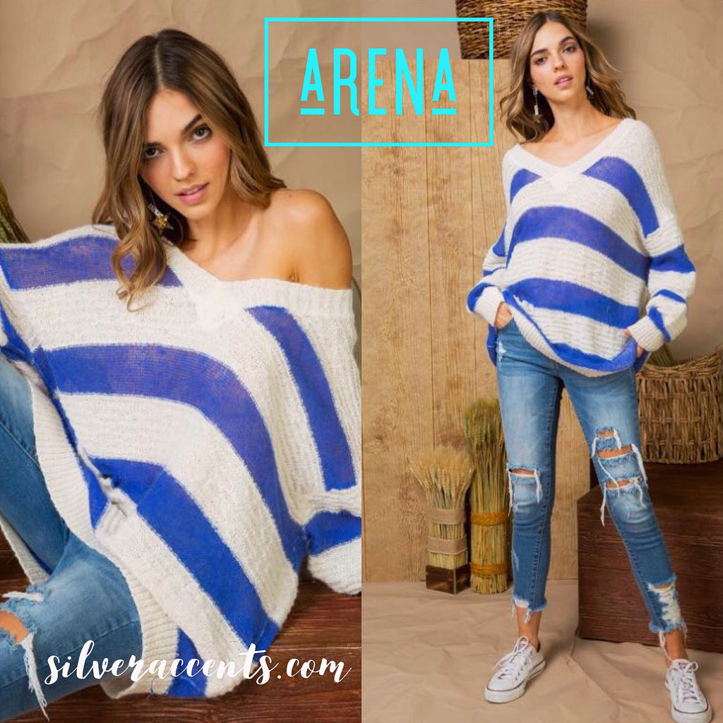 ARENA ColorBlock Stripe Textured V-Neck Sweater